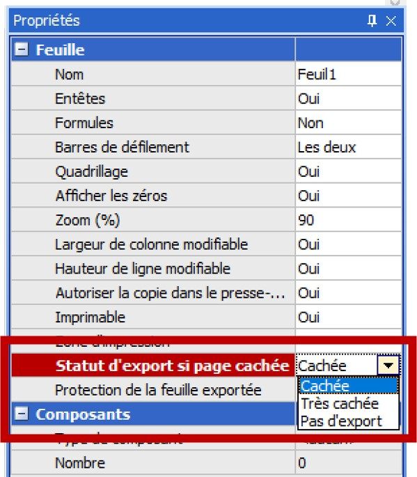 Statut d'export si page chachée